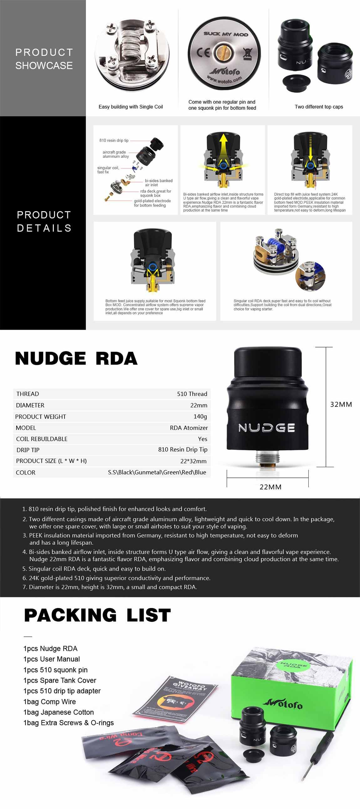 Wotofo Nudge RDA 22, detalle