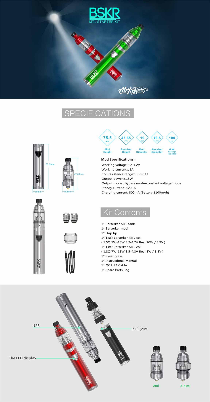 Vandy Vape Berserker MTL Kit, detalle