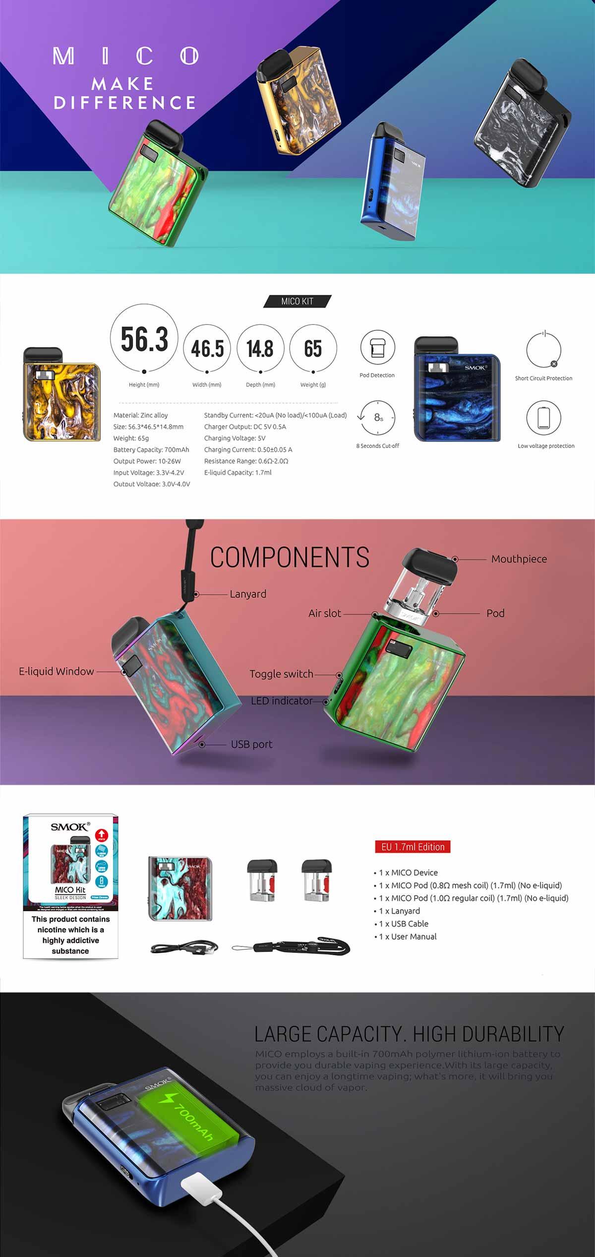 Smok Mico kit, detalle