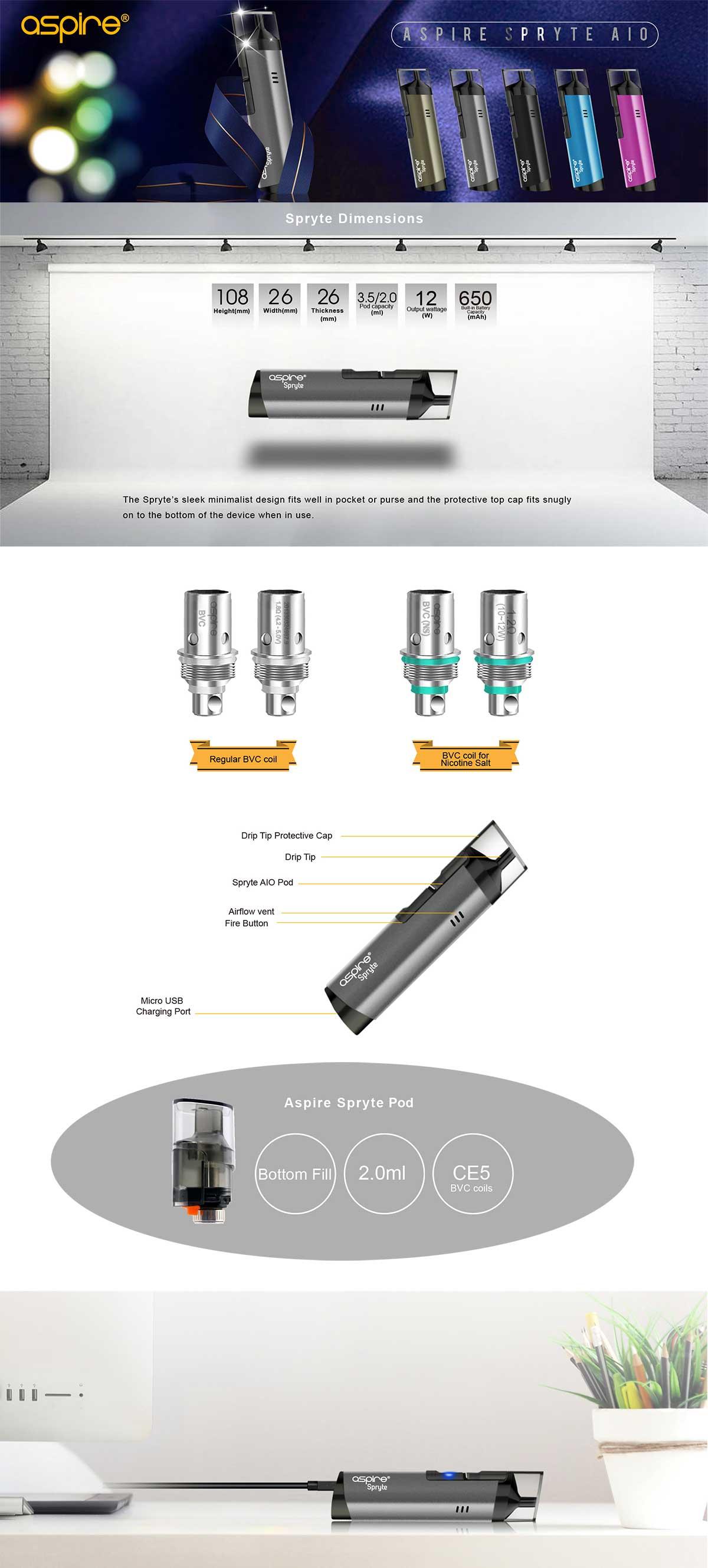 Aspire Spryte AIO Kit, detalle