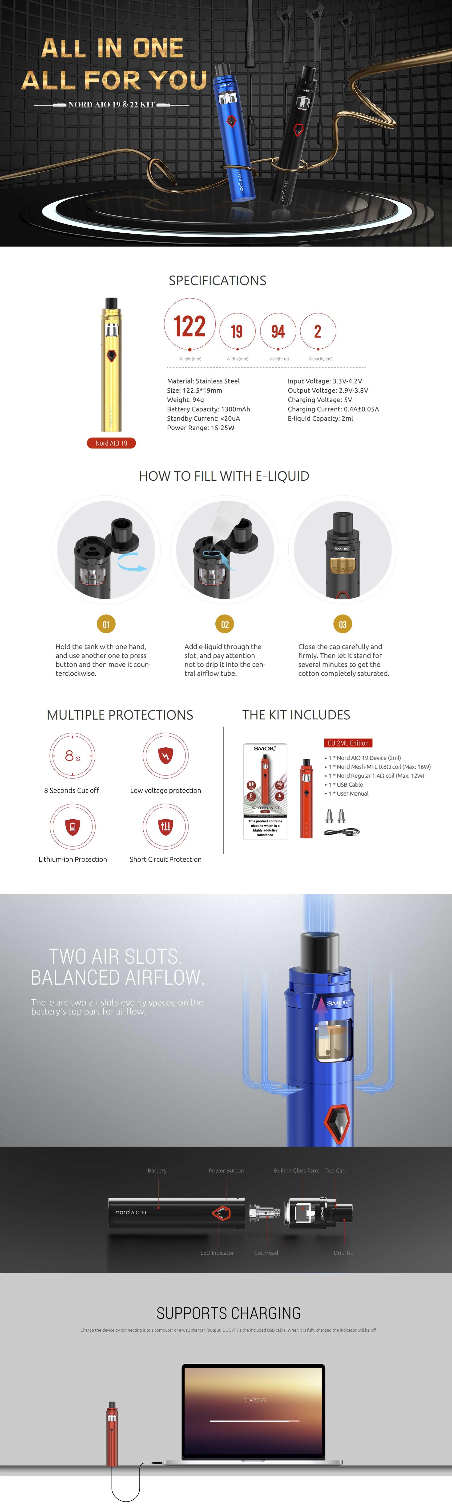 Smok Nord AIO 19 Kit, características