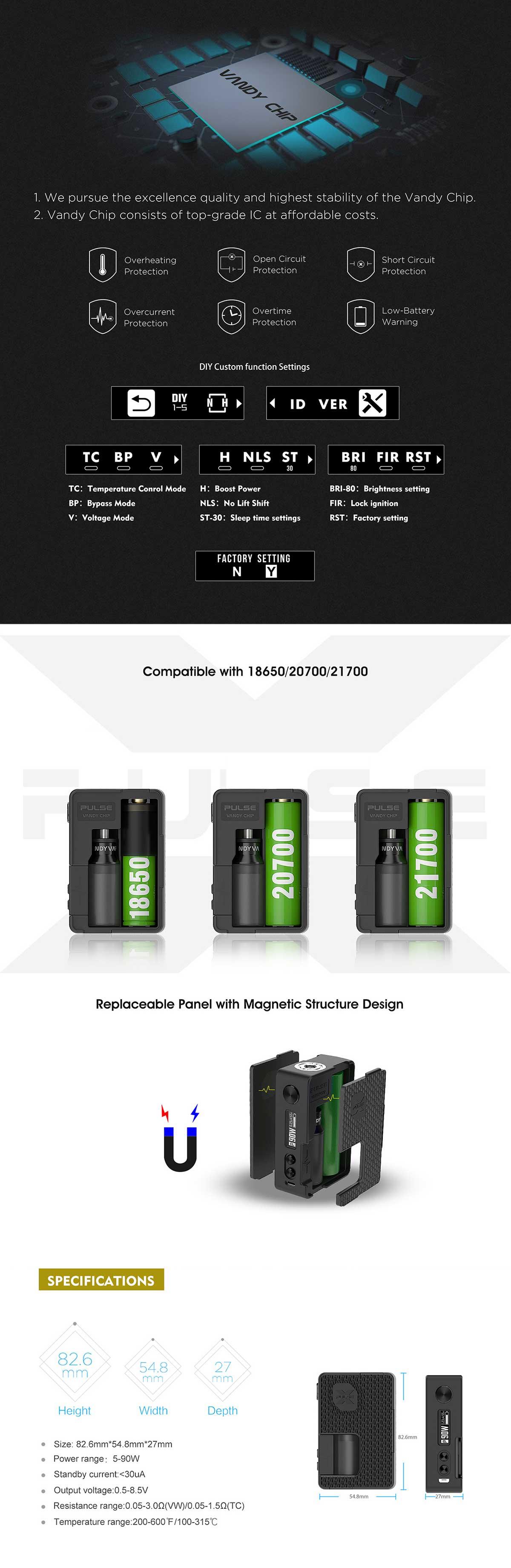 Vandy Vape Pulse X Mod. Características