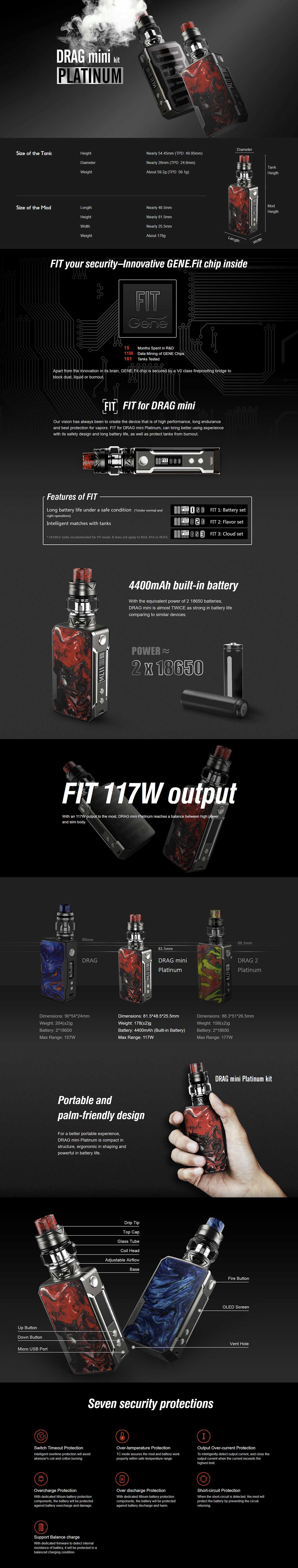Voopoo Drag Mini Platinum Kit. Características
