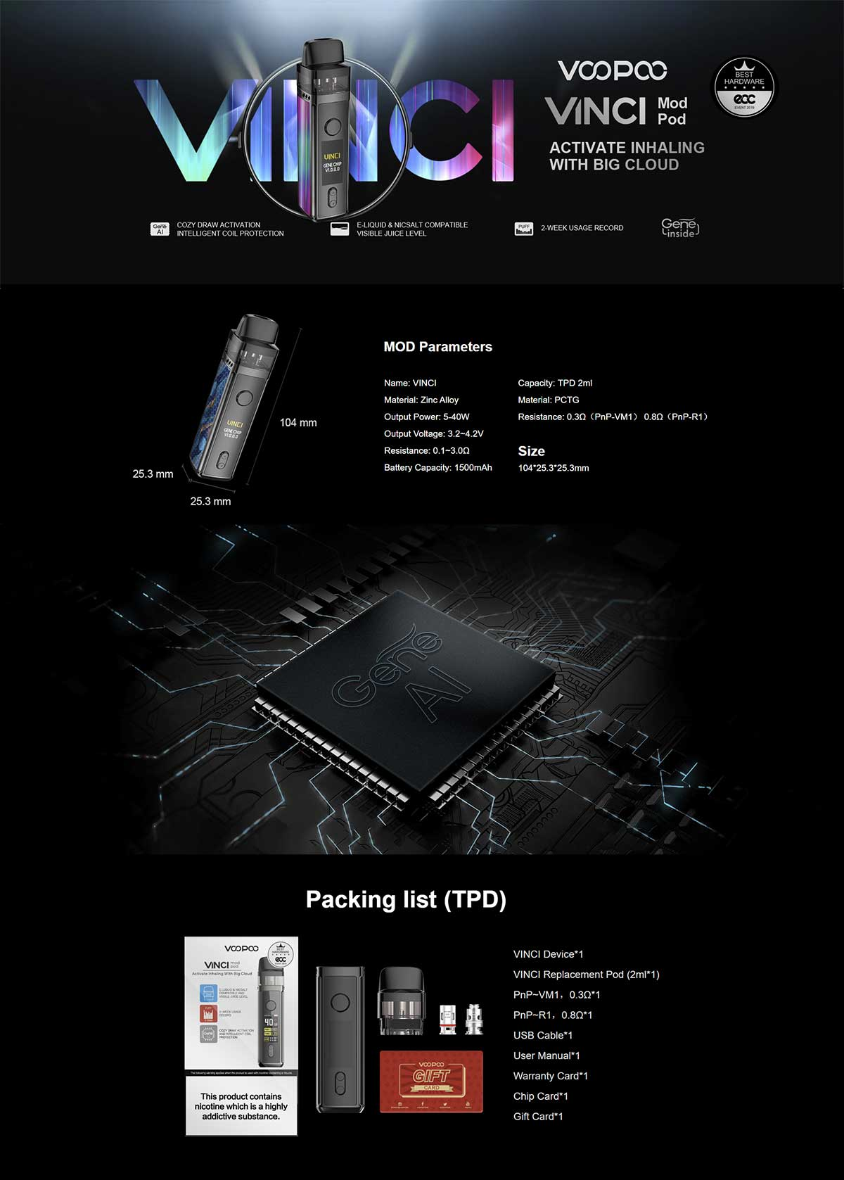 Voopoo Vinci Mod Pod, detalle