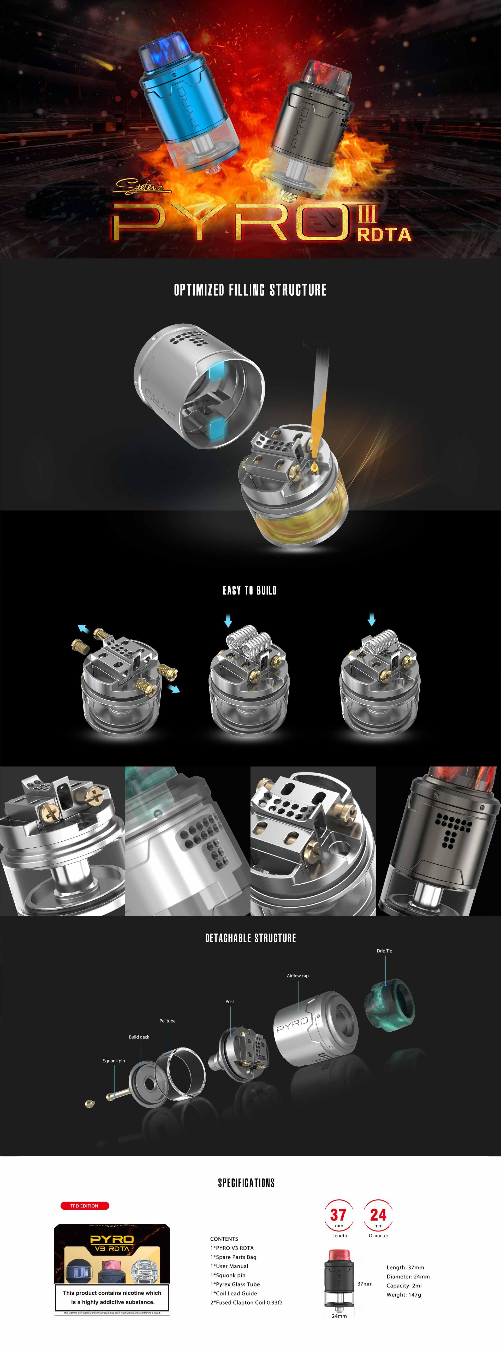 Vandy Vape Pyro V3 BF RDTA características