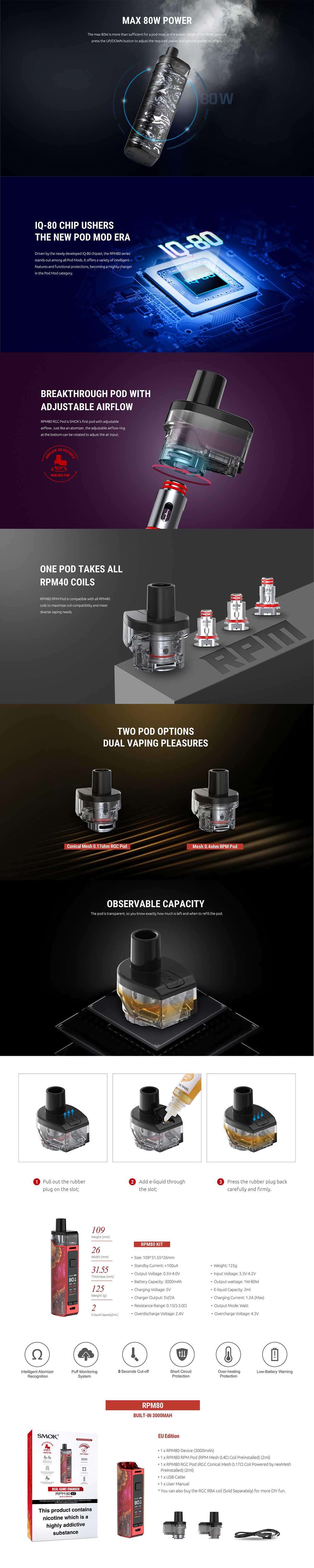 Smok RPM 80, características