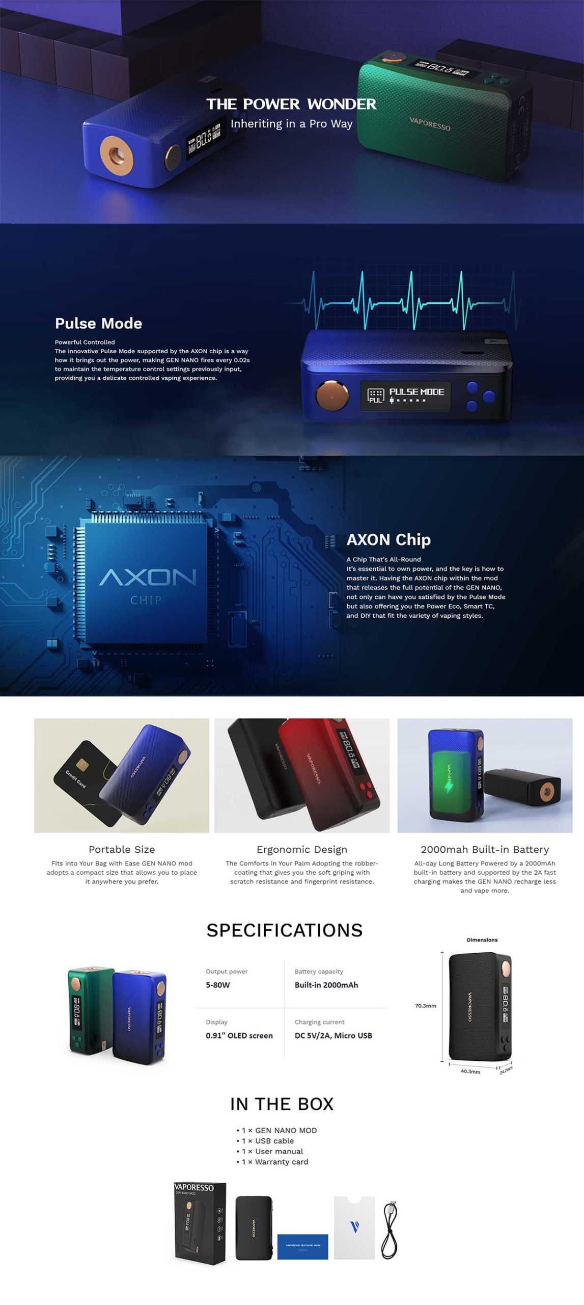 Vaporesso Gen Nano 80W mod, características