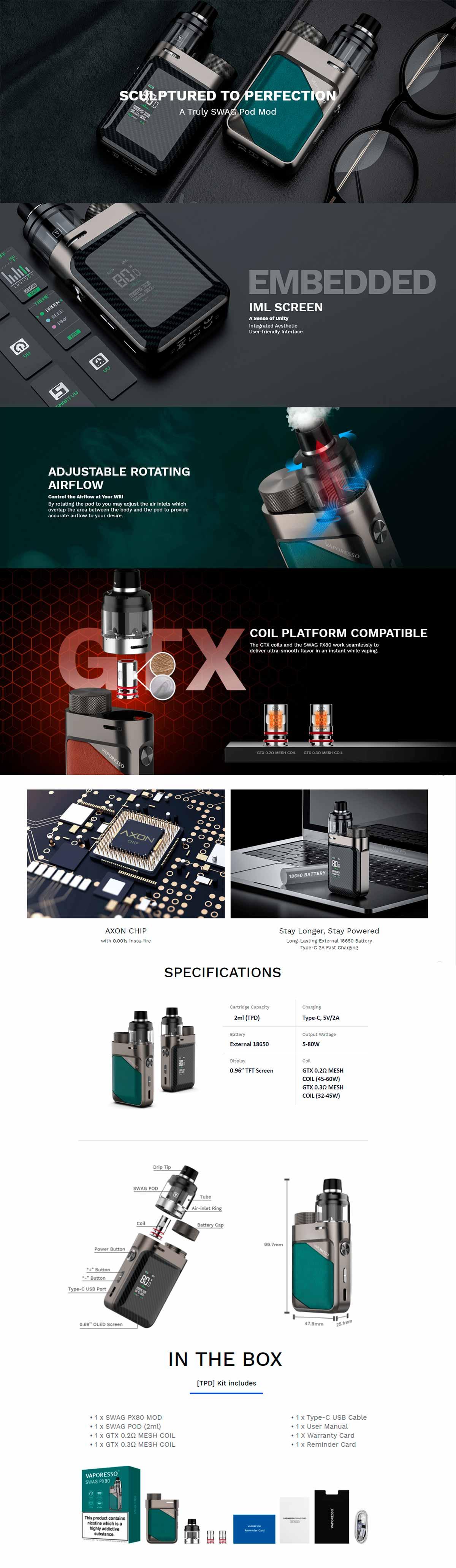 Vaporesso Swag PX80 kit, características