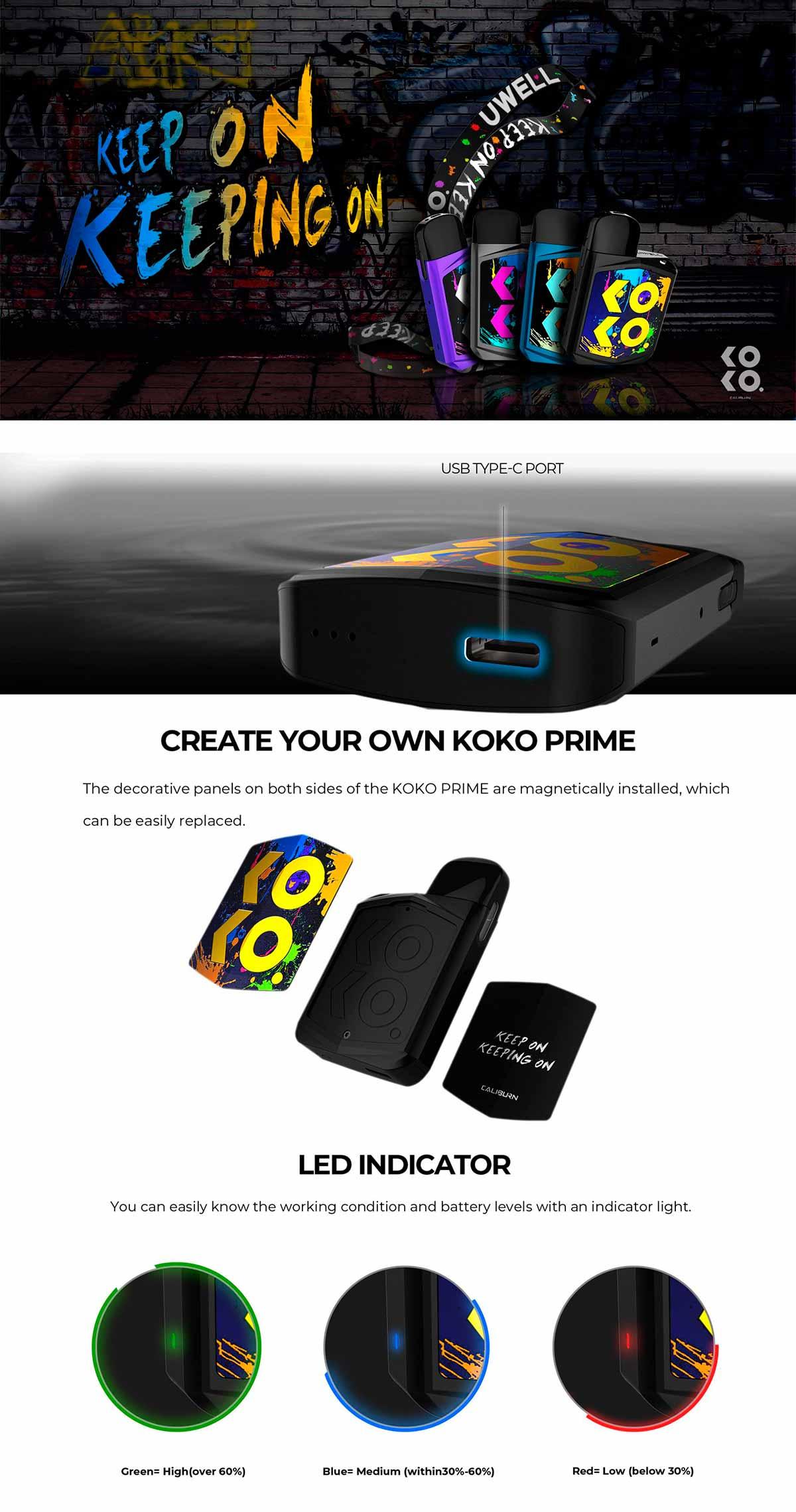 Uwell Caliburn Koko Prime Pod Kit, características