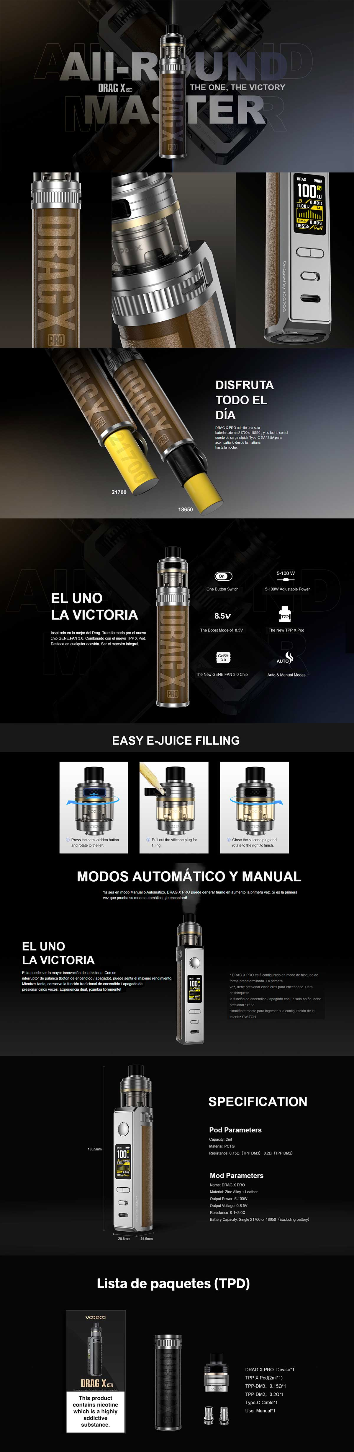 Drag X Pro Voopoo Mod Pod, detalle