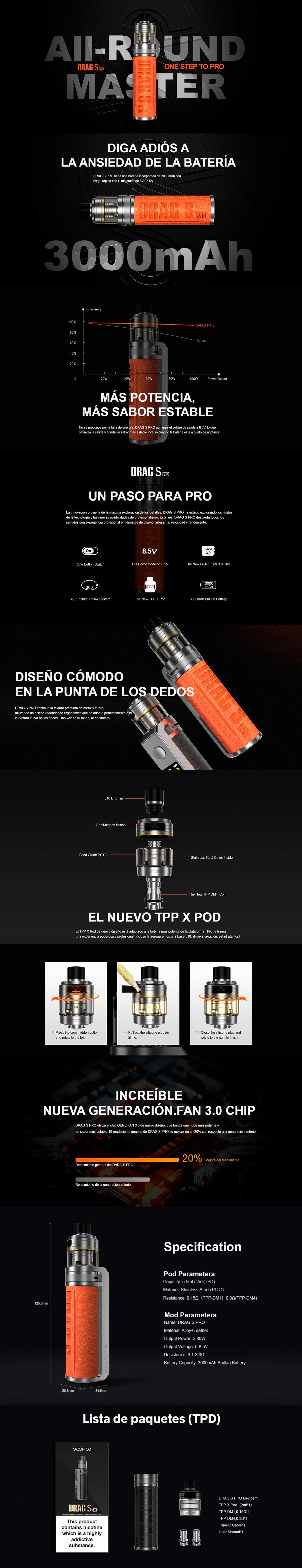 Drag S Pro Voopoo Mod Pod, detalle